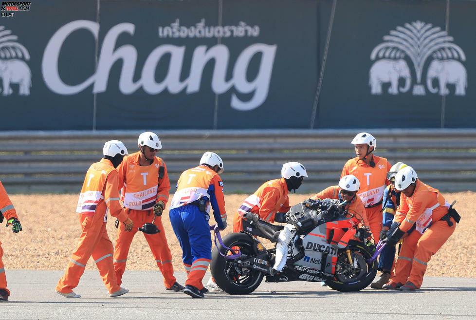 Die zerstörte Ducati nach Jorge Lorenzos Highsider im zweiten Training in Thailand
