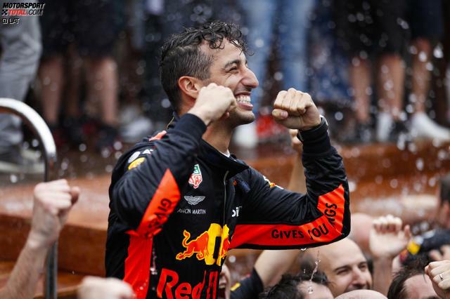 Hopp oder top: Daniel Ricciardo siegte in China und in Monaco, kam aber bei keinem anderen Rennen unter die Top 3. Damit war der scheidende Red-Bull-Pilot der erste Fahrer seit Jochen Rindt in der Saison 1970, der zwei Grands Prix gewann und sonst nicht auf dem Podium stand.