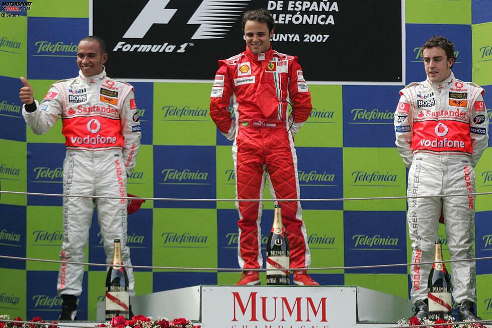 #10: Spanien 2007 - Felipe Massa, Lewis Hamilton, Fernando Alonso (Durchschnittsalter: 24 Jahre, 8 Monate, 24 Tage)