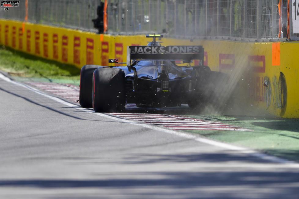 Es kommt, was kommen muss: Der Haas VF-19 schlägt hinten rechts an der Bande an...