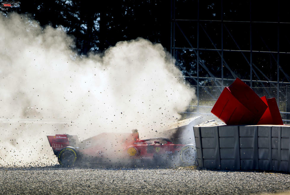 Sebastian Vettel hatte am sechsten Tag der Formel-1-Wintertests 2019 seinen ersten Unfall im Ferrari SF90
