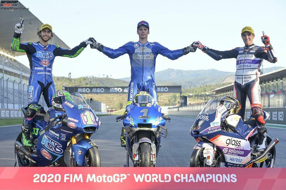 Die Weltmeister 2020: Enea Bastianini (Moto2), Joan Mir (MotoGP) und Albert Arenas (Moto3)