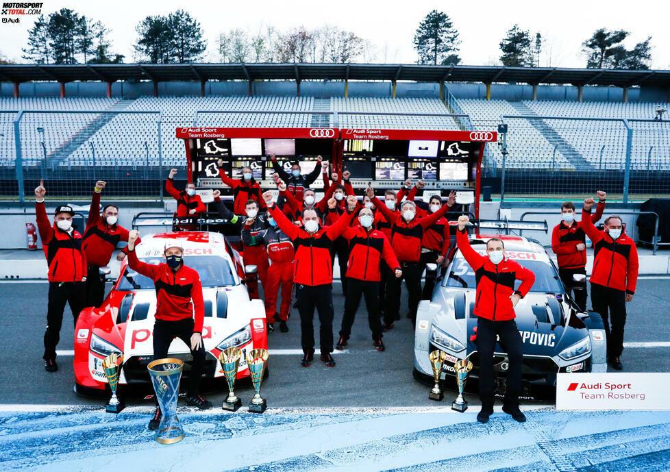 Die Rekordsaison 2019 wurde in diesem Jahr noch einmal übertroffen: Mit 16 Siegen, 17 Pole-Positions und 16 schnellsten Runden, 45 von 54 möglichen Podiumsplatzierungen und allen drei Meistertiteln war es das erfolgreichste Jahr der Audi-DTM-Geschichte.
