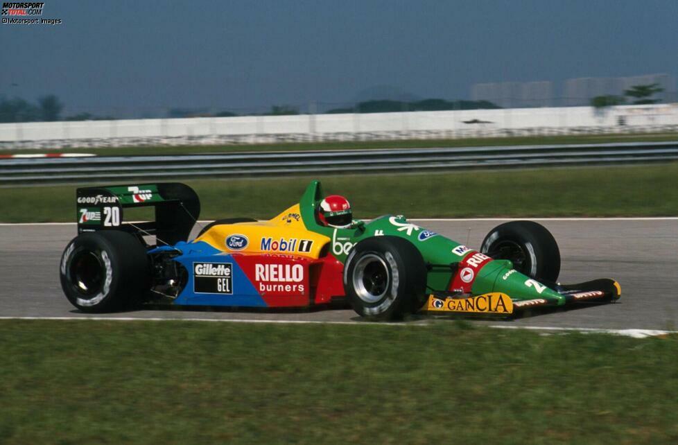 Der britische Rennfahrer aber beißt sich durch und feiert einen gelungenen Formel-1-Einstand bei seinem Comeback im Motorsport: P10 im Qualifying, schneller als Benetton-Teamkollege Alessandro Nannini!