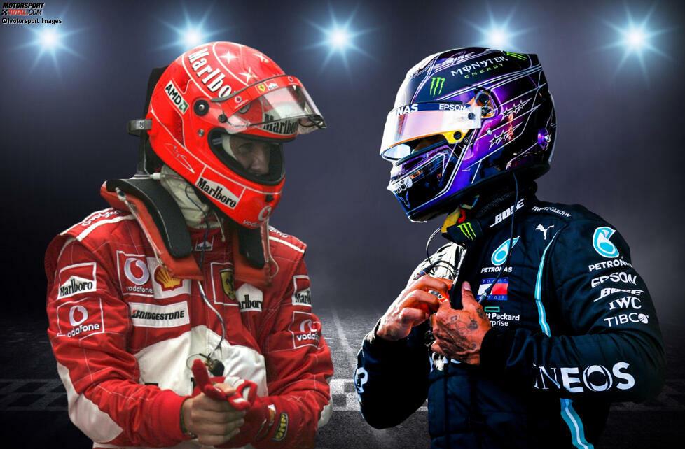 91 Formel-1-Siege haben sie beide, aber wie fällt der Vergleich zwischen Michael Schumacher und Lewis Hamilton bei diesem Meilenstein in anderen Statistiken aus? Wir machen den Check!