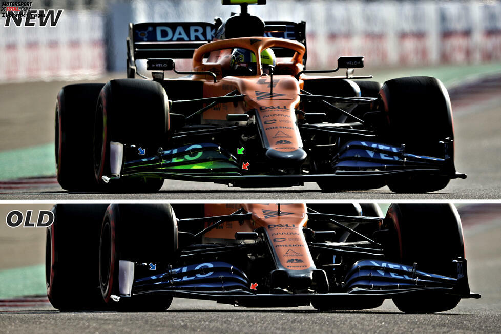 McLaren MCL35: Frontpartie-Vergleich (neu/alt)