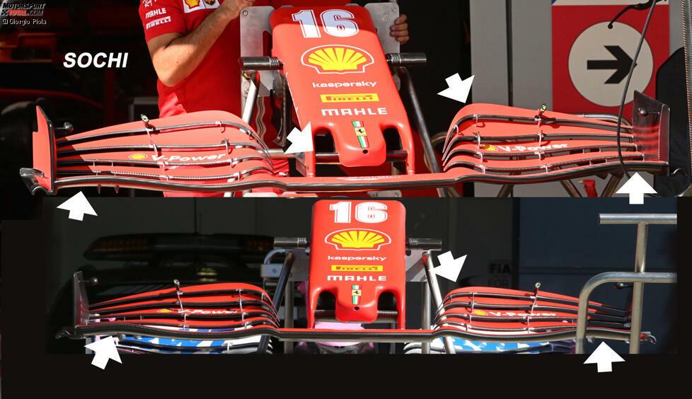 Ferrari SF1000: Frontflügel-Vergleich