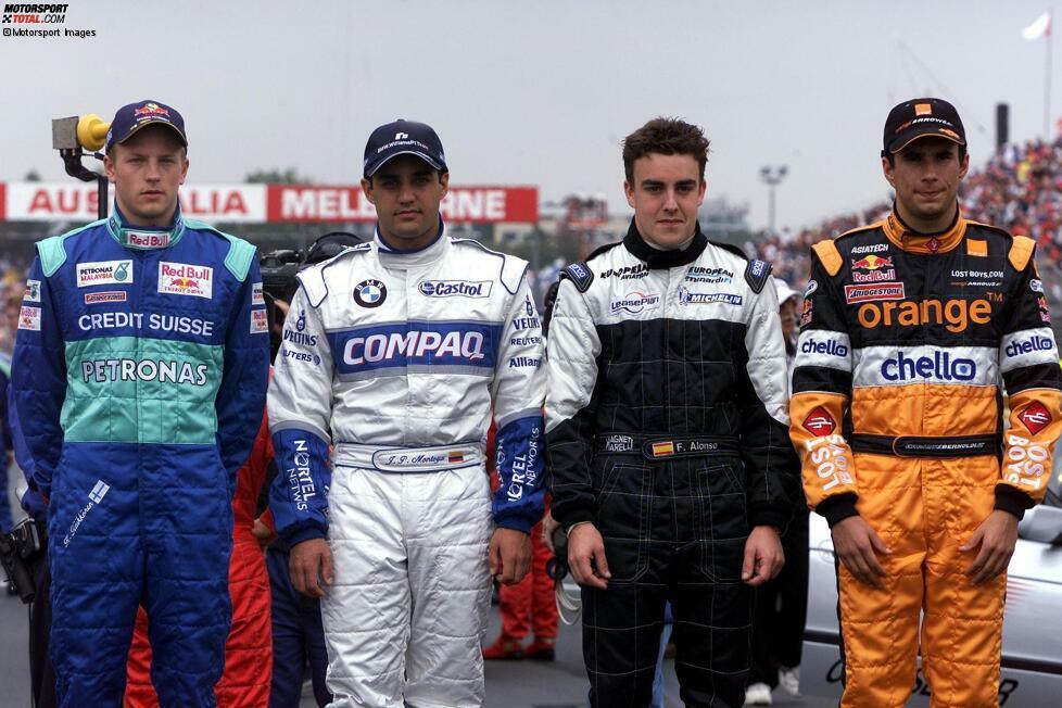 Drei Superstars und wer? So könnte man böse formuliert zu dem Bild sagen. Während einige Fahrer der Formel 1 ihren Stempel aufgedrückt haben, weiß man bei anderen gar nicht mehr, dass sie überhaupt in der Formel 1 waren. Enrique Bernoldi bleibt wegen Monaco 2001 in Erinnerung, bei anderen muss man vielleicht etwas länger überlegen.