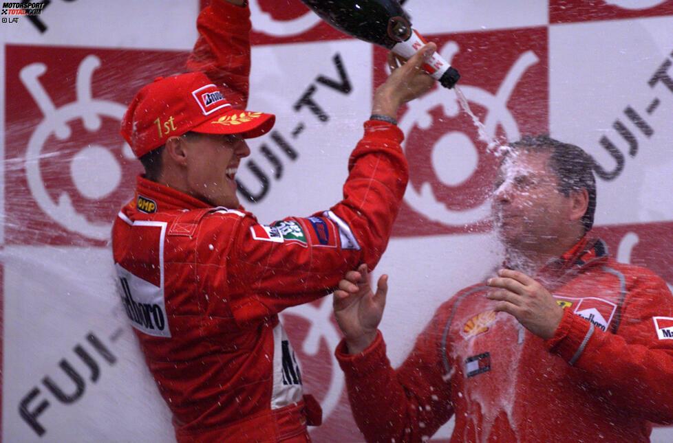 Michael Schumachers erster Ferrari-Titel (2000): In Suzuka beendet Michael Schumacher eine mehr als 20-jährige Durststrecke. Er krönt sich zum ersten Ferrari-Weltmeister seit Jody Scheckter 1979. Zudem ist es der Auftakt in eine neue Ära, in der
