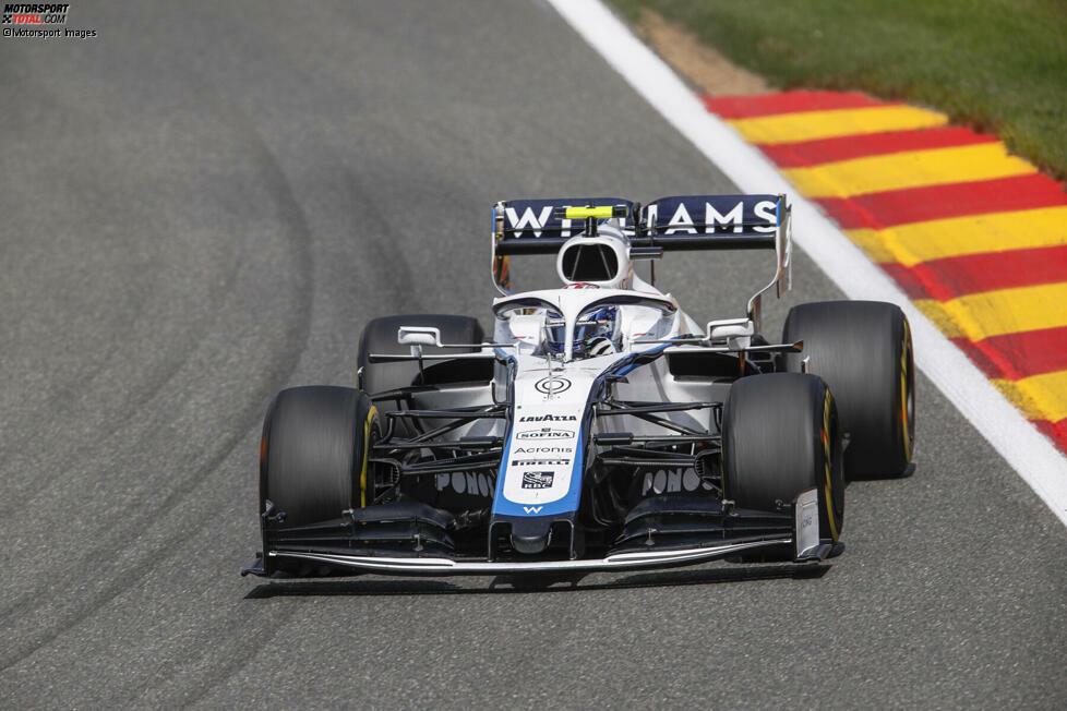 Nicholas Latifi (4): Bleibt der langsamste Pilot im Feld. Muss sich auch in Belgien deutlich hinter George Russell einsortieren, kann aber zumindest in Qualifying und Rennen Kevin Magnussen hinter sich lassen. Und weil er sich auch keinen großen Fehler leistet, gibt es von uns noch die 4.