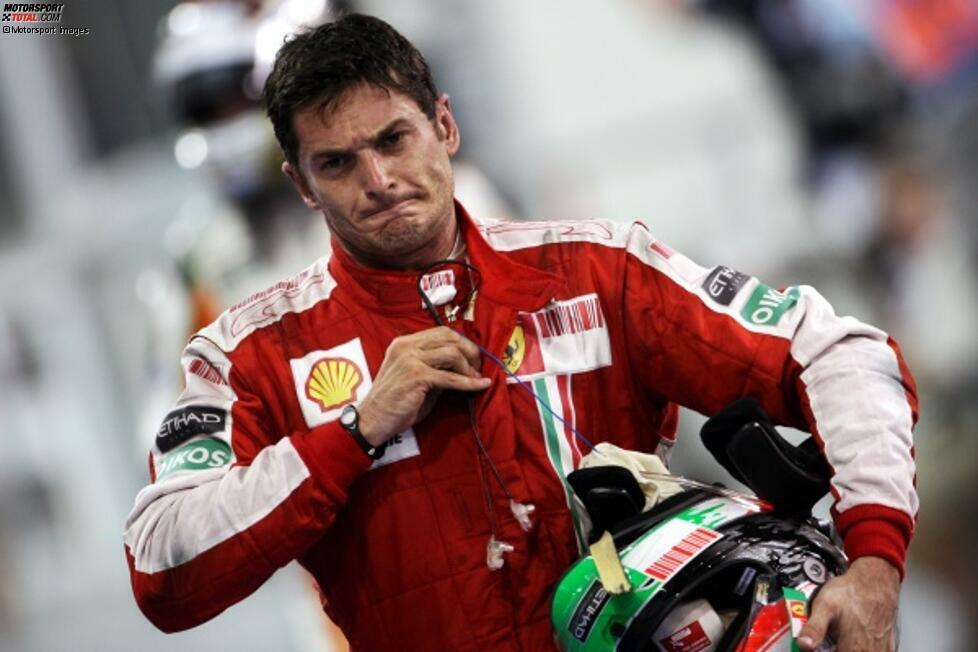 Giancarlo Fisichella (2009): Er ist nicht nur der bis heute letzte Italiener im Ferrari-Cockpit. Er ist auch der letzte Pilot, der im Ferrari kein Rennen gewinnen kann. Ende der Saison 2009 springt er fünfmal für den verletzten Felipe Massa ein - und bleibt fünfmal ohne Punkte. Es sind gleichzeitig seine letzten Formel-1-Rennen.