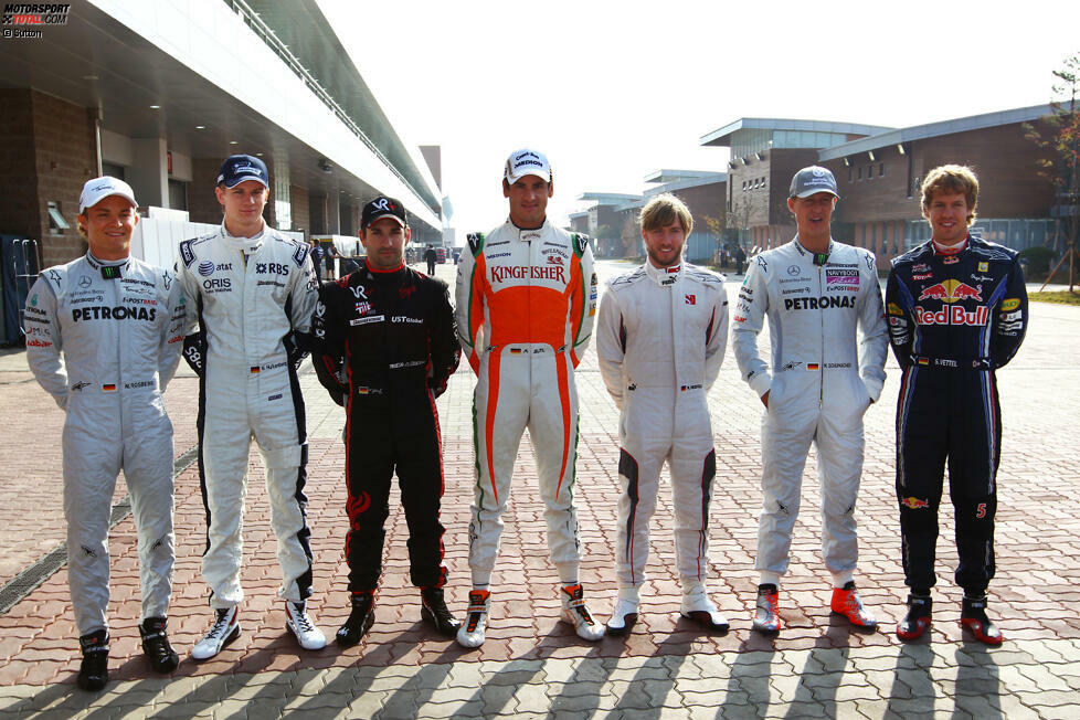 #1 Sieben Deutsche gleichzeitig am Start: Das waren noch Zeiten! 2010 fuhren zeitweise sieben deutsche Piloten gleichzeitig in der Formel 1: Nico Rosberg (Mercedes), Nico Hülkenberg (Williams), Timo Glock (Virgin), Adrian Sutil (Force India), Nick Heidfeld (Sauber), Michael Schumacher (Mercedes) und Sebastian Vettel (Red Bull).