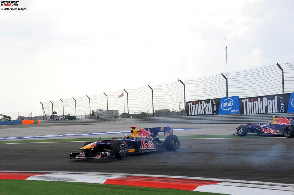Bei einem Überholversuch seitens Vettel kommt es in Kurve 12 zum Kontakt.