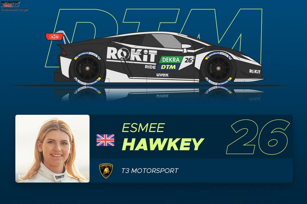 #26 Esmee Hawkey (23) - Ranking: * (1 Stern) Die Freundin von GT3-Pilot Jordan Pepper wollte eigentlich WEC fahren und ergatterte im letzten Moment ein DTM-Cockpit. Im Vorjahr gewann sie die Pro-Am-Wertung des britischen Porsche-Carrera-Cup, 2019 trat sie aber in der W-Serie kaum in Erscheinung und holte nur einmal Punkte.