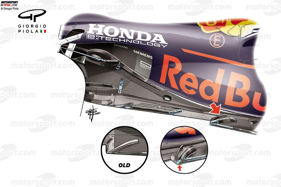 Für den Belgien-Grand-Prix führte Red Bull einen neuen Unterboden ein, der einen großzügigeren Bogen und eine zusätzliche Strebe erhielt. Aufgrund der Regeländerungen in dieser Saison nahm der Unterboden über die Saison hinweg eine besonders wichtige Rolle ein. Schauen wir auf die Veränderungen im Saisonverlauf.