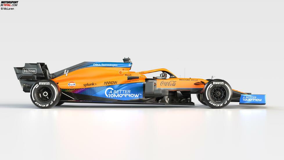 Das Farbdesign des McLaren MCL35M orientiert sich am Vorjahresauto MCL35. Der Zusatz