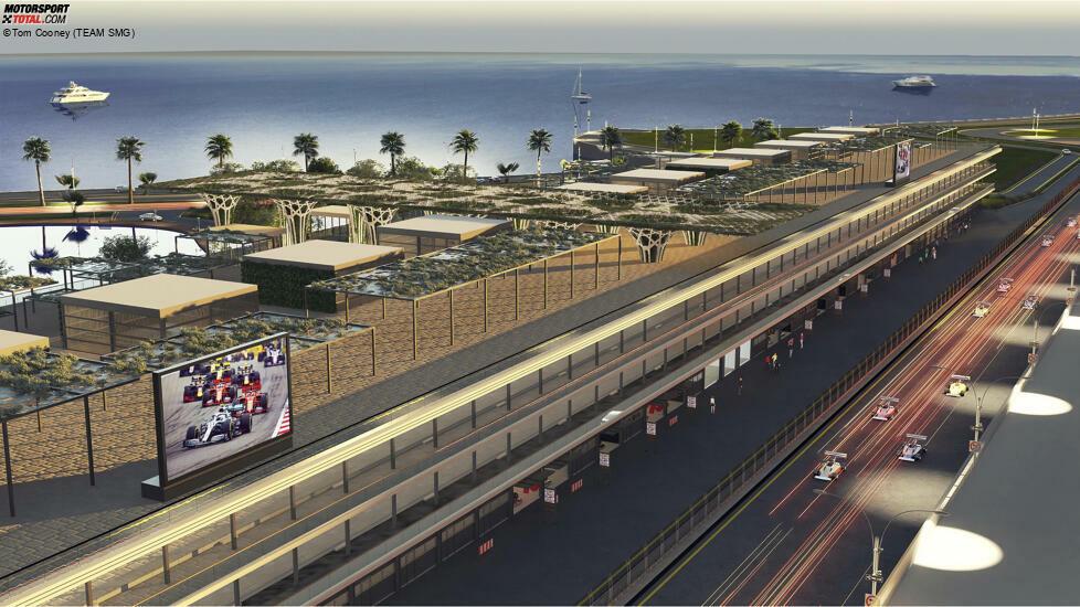 Der Promoter des Grand Prix von Saudi-Arabien hat erste, mittels Rendering erzeugte Bilder vom geplanten Boxengebäude des Dschidda-Straßenkurses veröffentlicht.