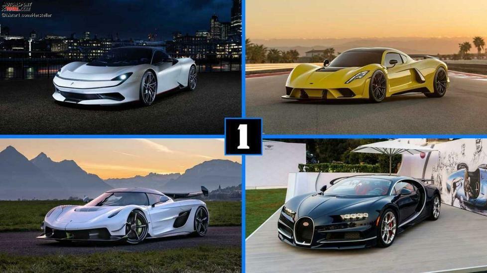 Das Prestige eines Autos hängt zu einem großen Teil von der Leistung ab. An der Spitze der Hierarchie steht der exklusive Club der 1.000-PS-Autos. Seine Mitglieder, also Fahrzeuge mit 1.000 PS oder mehr, kann man (fast) an den Fingern einer Hand abzählen. Doch ihnen eilt ein Ruf wie Donnerhall voraus. Sie sind stärker als ein Ferrari LaFerrari oder ein McLaren P1. Sie kosten mehrere Millionen Euro, und ihre PS-Zahl liest sich wie ein Tippfehler. Mehr Supersportwagen:Die faszinierendsten Elektro-SupersportwagenDer McLaren Speedtail und der 400-km/h-Club Eines dieser Autos zu fahren ist wie ein Wunder, denn in der Regel werden nur wenige Exemplare gebaut, und diese lässt der Besitzer am liebsten in der geheizten Garage. Jetzt wollen wir uns aber nicht länger mit Vorgeplänkel aufhalten. Im Folgenden zeigen wir Ihnen einige Supersportler mit 1.000 PS oder mehr.