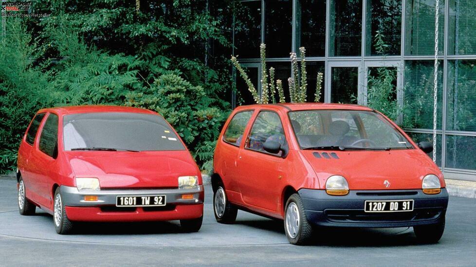 Ein Foto aus der Entwicklungsphase des Renault Twingo in den frühen 1990er-Jahren. Die Ursprünge der markanten Monobox-Form liegen sowohl bei der Studie Matra P41 (Matra hatte auch schon den ähnlichen Espace konzipiert) und dem Beskid 106 aus Polen. Typisch für die erste Generation des Twingo sind das freundliche Gesicht und die drei Lufteinlässe in der Haube. Mit dem cleveren Raumkonzept stand der Twingo in der Tradition des Renault 4, den er beerbte.