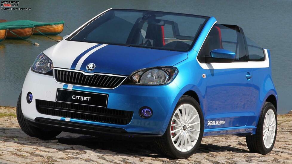 Der Skoda Citigo, Bruder des VW Up und des Seat Mii, wurde in einer Cabrio-Version namens CitiJet als das erste Concept Car der Skoda-Akademie präsentiert, das von einem Team von 16 Studenten entwickelt wurde. Ihrer Meinung nach besteht der komplizierteste Teil der Gestaltung dieser