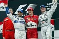 Montoya, Schumacher, Coulthard