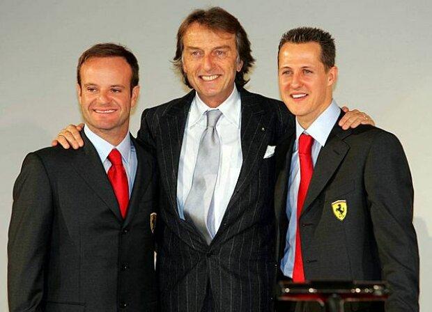 Barrichello, Montezemolo und Schumacher