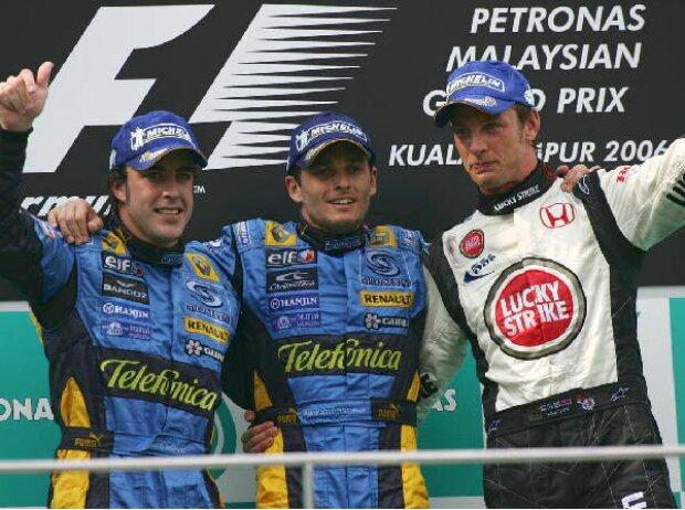 Fernando Alonso, Giancarlo Fisichella und Jenson Button
