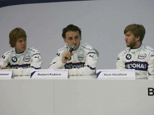 Sebastian Vettel, Robert Kubica und Nick Heidfeld