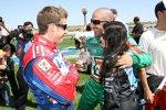 Andretti Green Teamkollegen unter sich: Marco Andretti, Tony Kanaan und Danica Patrick