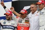 Nick Heidfeld (BMW Sauber F1 Team), Lewis Hamilton, Martin Whitmarsh (Geschäftsführer) (McLaren-Mercedes) und Alexander Wurz (Williams)