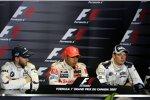 Nick Heidfeld (BMW Sauber F1 Team), Lewis Hamilton (McLaren-Mercedes) und Alexander Wurz (Williams)