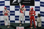 Fernando Alonso, Lewis Hamilton (McLaren-Mercedes) und Felipe Massa (Ferrari)