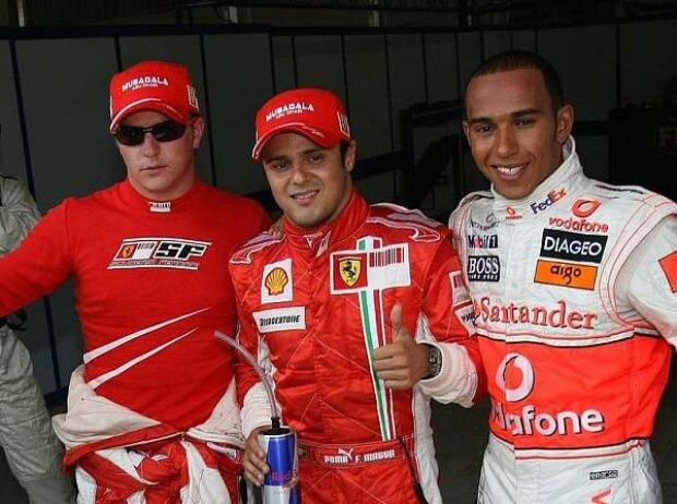 Kimi Räikkönen, Felipe Massa und Lewis Hamilton