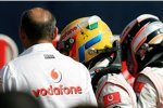 Ron Dennis (Teamchef), Lewis Hamilton und Fernando Alonso (McLaren-Mercedes)