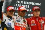 Heikki Kovalainen (Renault), Lewis Hamilton (McLaren-Mercedes) und Kimi Räikkönen (Ferrari)