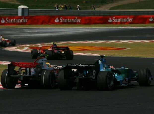 Lewis Hamilton und Rubens Barrichello