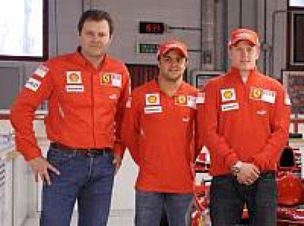 Aldo Costa, Felipe Massa und Kimi Räikkönen