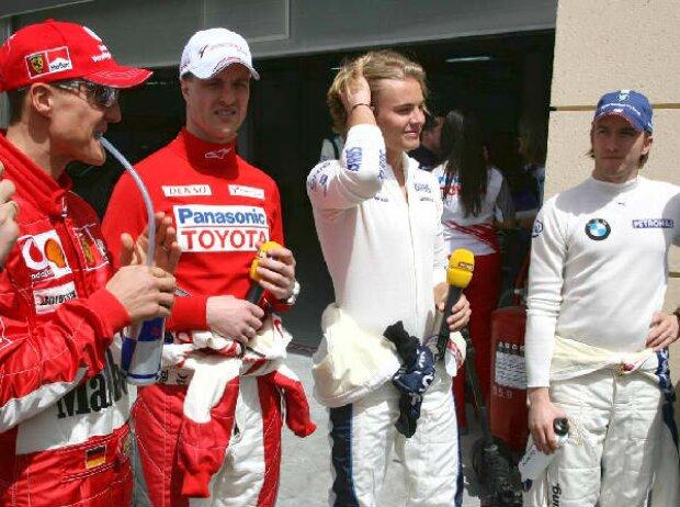 Michael Schumacher, Ralf Schumacher, Nico Rosberg und Nick Heidfeld