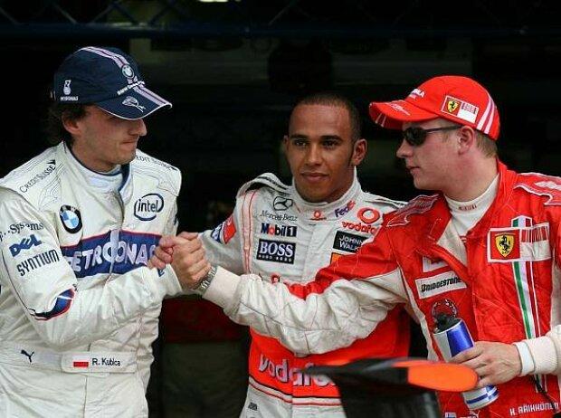 Robert Kubica, Lewis Hamilton und Kimi Räikkönen