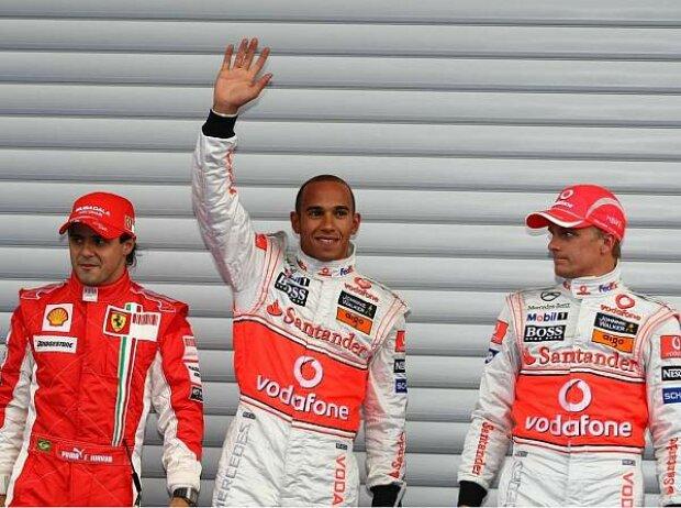 Felipe Massa, Lewis Hamilton und Heikki Kovalainen
