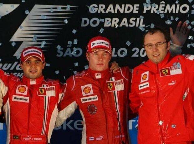 Felipe Massa, Kimi Räikkönen und Stefano Domenicali