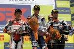 Noriyuki Haga (Ducati), Ben Spies (Yamaha) und Max Biaggi (Aprilia)
