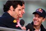 Mark Webber, David Coulthard undSebastian Vettel (Red Bull)