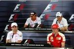 Oben: Nelson Piquet Jr. (Renault) und Robert Kubica (BMW Sauber F1 Team); unten: Timo Glock (Toyota) und Kimi Räikkönen (Ferrari)