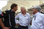Christian Horner (Teamchef) (Red Bull), Virgin-Chef Richard Branson und Bernie Ecclestone (Formel-1-Chef)