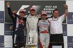 Sebastian Vettel (Red Bull), Jenson Button (Brawn) und Jarno Trulli (Toyota)