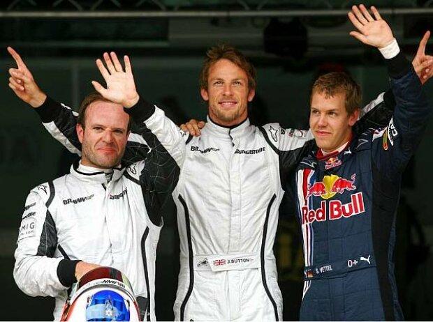 Rubens Barrichello, Jenson Button und Sebastian Vettel
