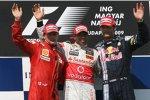 Kimi Räikkönen (Ferrari), Lewis Hamilton (McLaren-Mercedes) und Mark Webber (Red Bull)