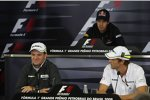 Rubens Barrichello, Sebastian Vettel und Jenson Button in der Donnerstags-Pressekonferenz