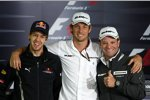 Sebastian Vettel, Jenson Button und Rubens Barrichello